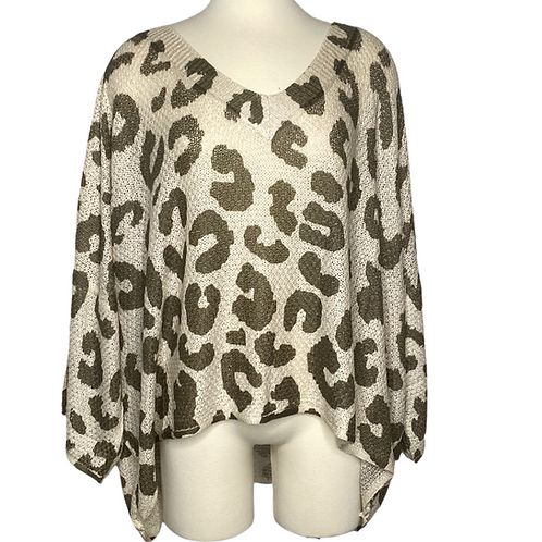 Olive Leopard Top Front View