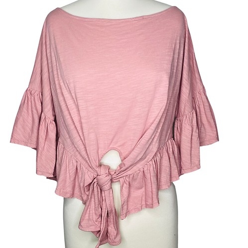 Ruffle Tie Top Front View