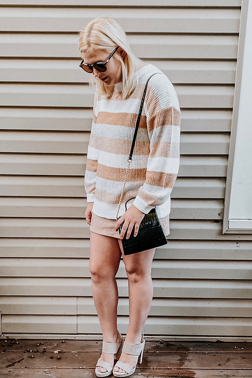 Mauve Camel Stripe Sweater