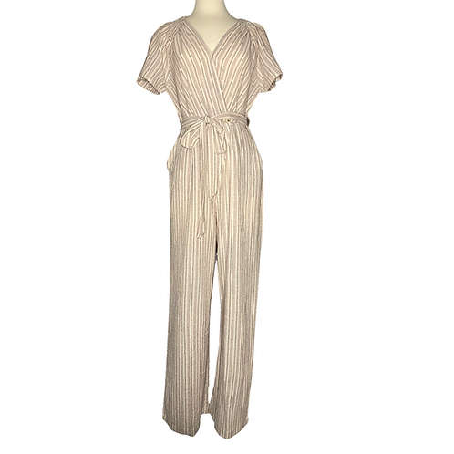 Pin Stripe Jumpsuit Front View