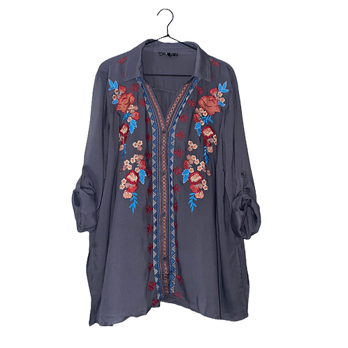 Embroidered Button Up Front View
