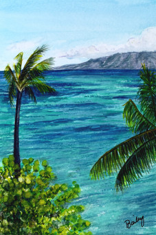 "Kahana, Maui  4""x6"" Plein Air Adventure Collection Original Watercolor SOLD"