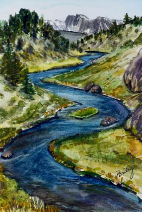 "Hot Creek, California  4""x6"" Plein Air Adventure Collection Original Watercolor AVAILABLE"