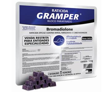 A Vetorial possui a solução certa para o controle de pragas com GRAMPER BLOCO PARAFINADO é um raticida em bloco parafinado de coloração azul  eficaz, resistente e de dose única em bandeja de 500g (blocos de 20g) para áreas externas e bastante úmidas. utilizado contra Rattus novergicus.