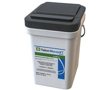 A Vetorial possui a solução certa para o controle de pragas com TALON BLOCOS XT é um raticida anticoagulante, de dose única e que não é recoberto por parafina, composto por cereais com a mais alta qualidade e palatabilidade, por meio de uma inovadora tecnologia de extrusão que permite iscas muito mais atrativas e com alta resistência a fatores externos, em balde de 7,26Kg (bloco de 20g). Utilizado contra ratos e camundongos.