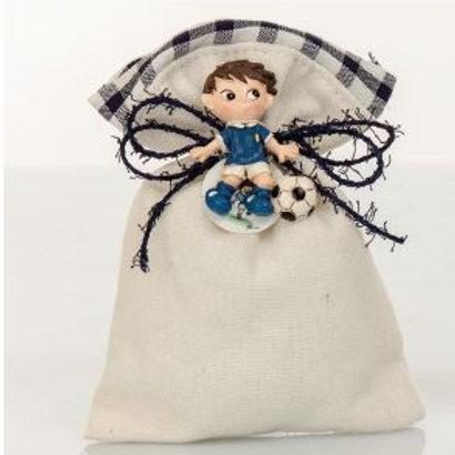 sacchetto quadri blu magnete calciatore
