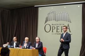 """Bussi con Javier Ozores, Pablo Portabales y Andrés Lacasa en una charla informativa sobre la Suite Sinfónica de """"La Tribuna"""""""