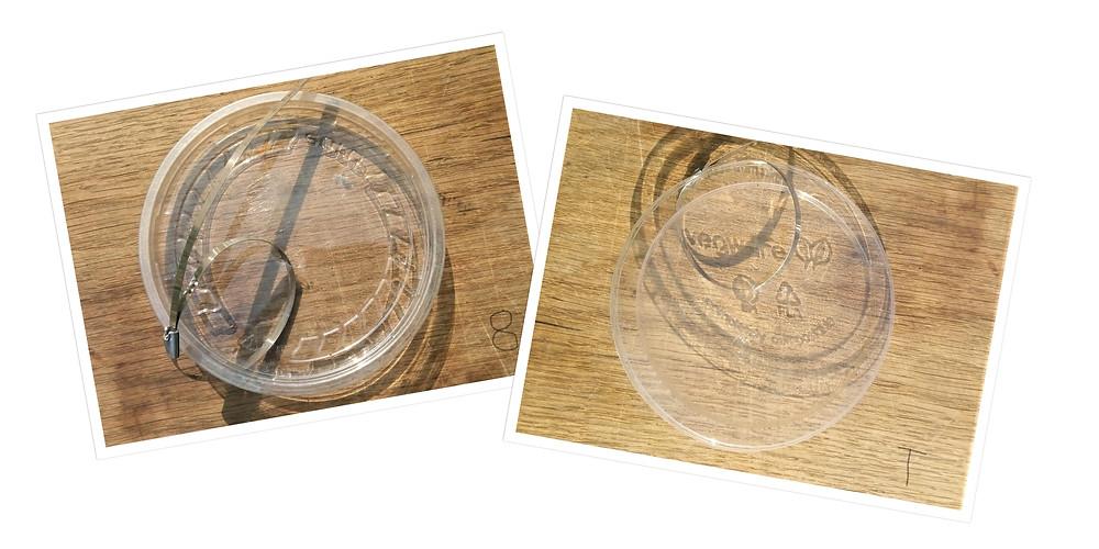 #1 PETE vs #7 PLA Plastic Lids