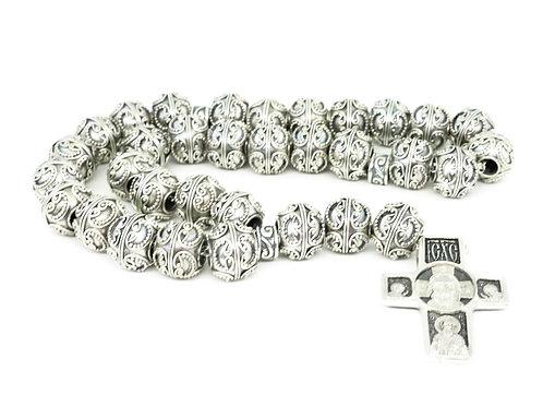 Православные четки из серебра на серебряной цепочке