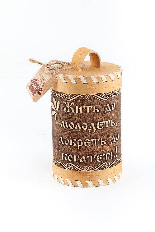 Иван-чай в туесе «Жить и молодеть, добреть и богатеть»
