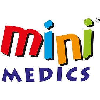 Mini medics colourful logo in primary colours