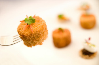 Breaded camembert canapes
