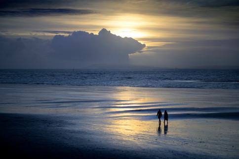 Evening beach sun