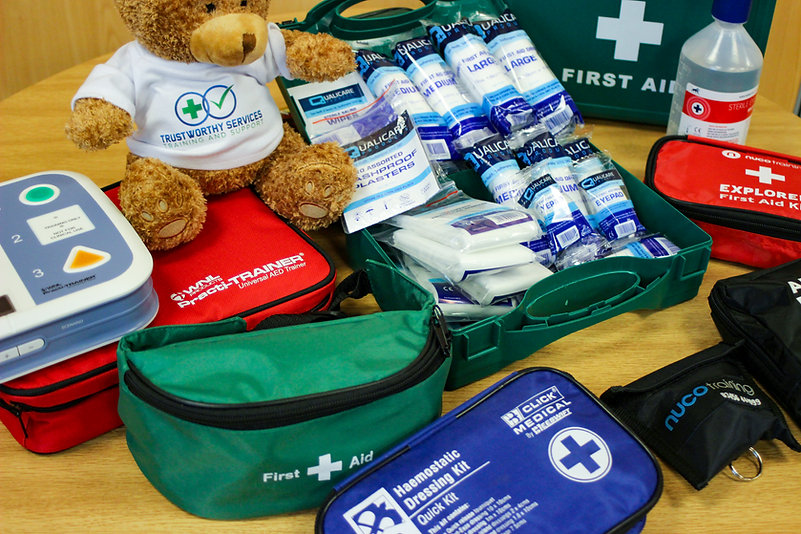 A range of items from a First Aid kit on a table, including bandages, wipes, an AED trainer. The green First Aid kit box can be seen to the right. To the left is a small, cuddly brown teddy bear with a T shirt that has the Trustworthy Services logo on.