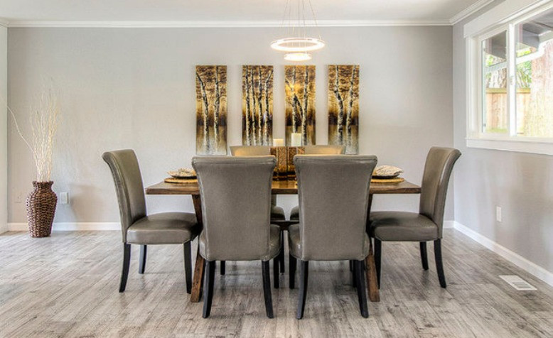 Contemporary Dining Room With Modern Lights