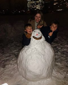 Snowman, Children, Winter