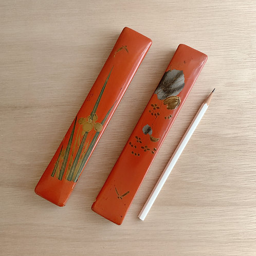 VINTAGE Red Lacquer Pen/Brush Box (Set of 2)