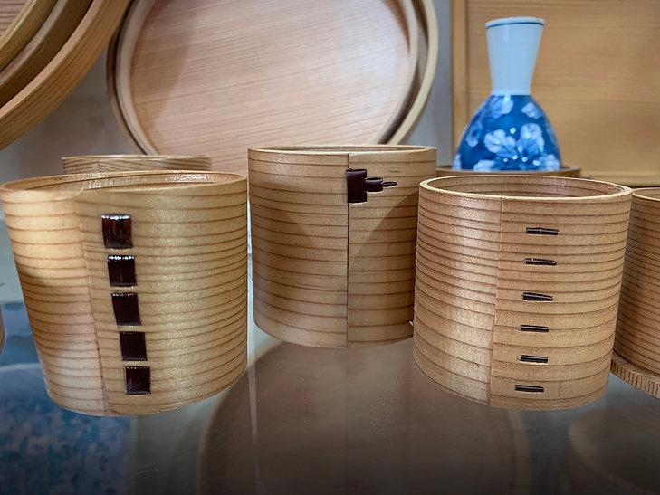 bentwood magemono wood sake cups