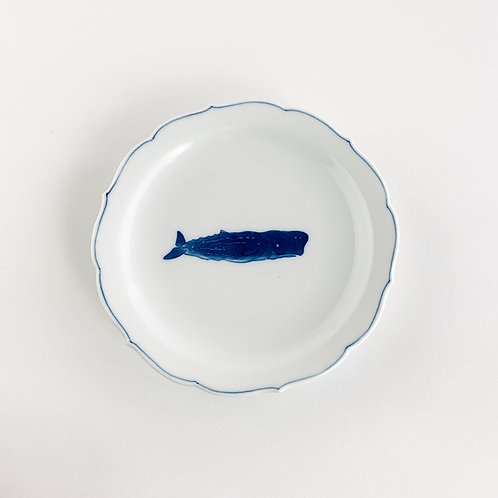 Floret-edge small plate with SPERM WHALE