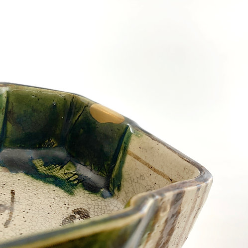 Mino Oribe diamond-shape bowl - Kintsugi