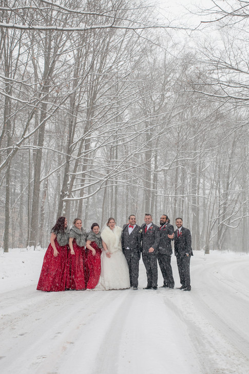 Bride and Groom standing outdside with wedding party in snow weather.