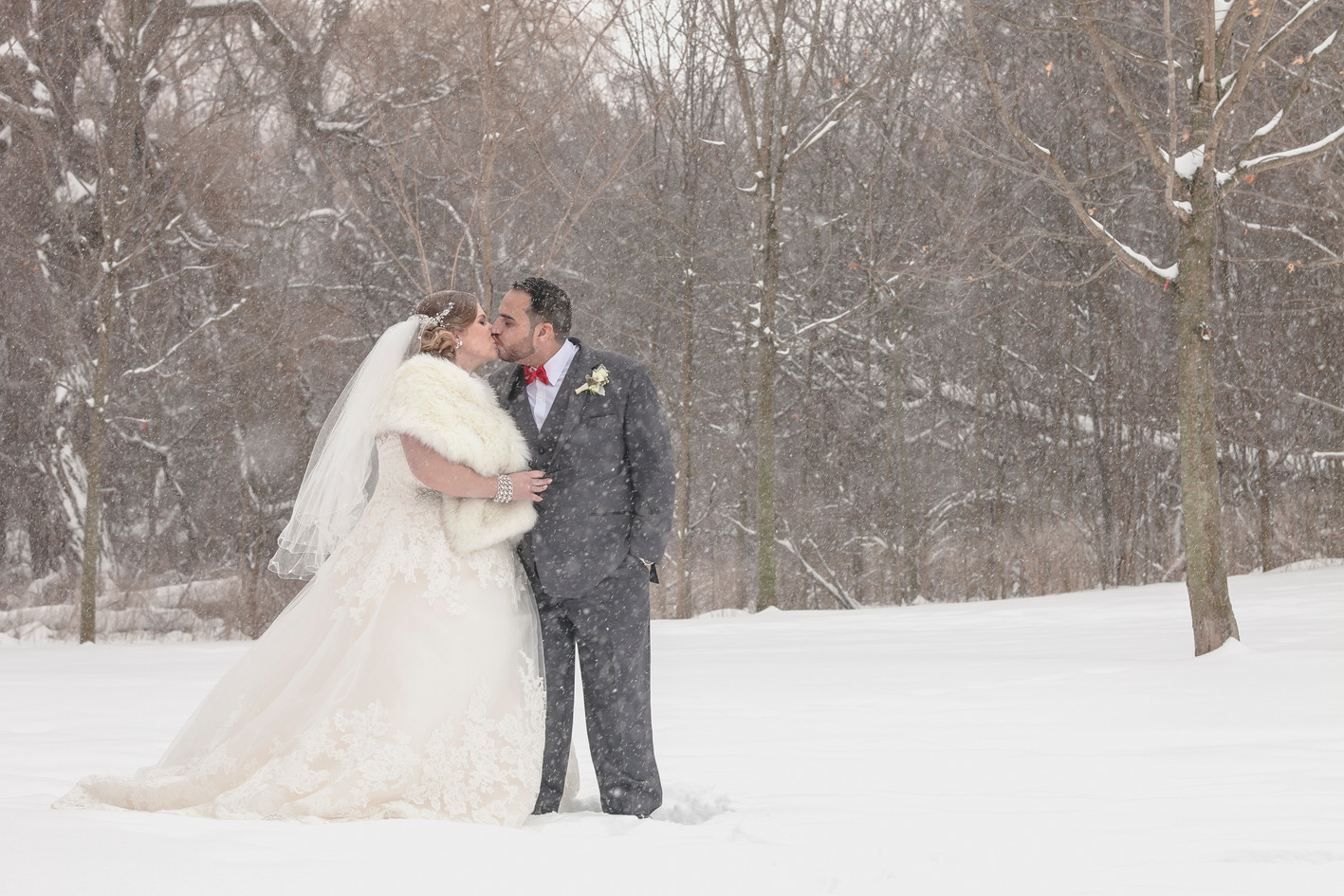 Winter wedding outside in the snow
