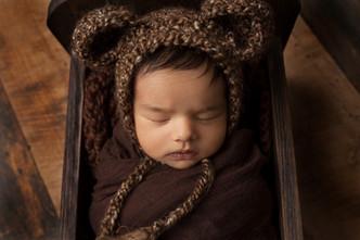 Newborn Baby Boy in bear outfit wrap-1.j