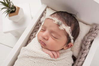 newborn baby girl with cactus plant in wooden bed.jpg