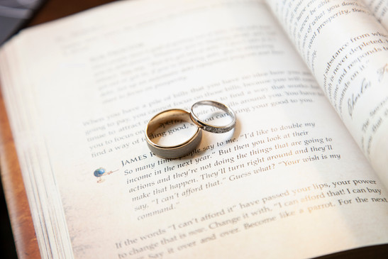 Wedding rings together on a bible.