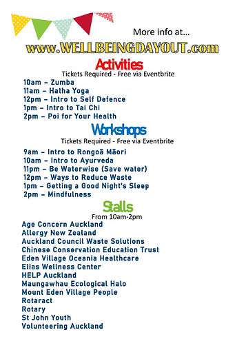 Wellbeing Day Out 2021 Schedule
