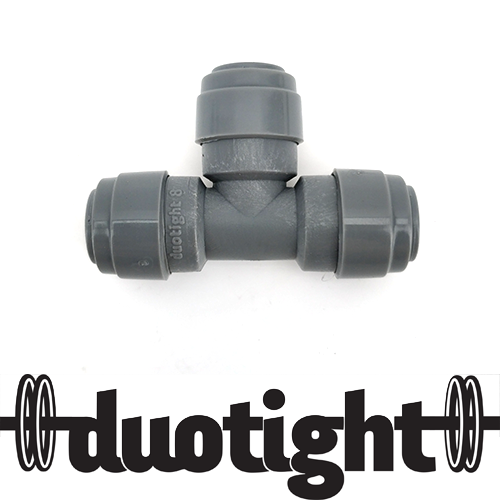 DUOTIGHT 8MM(5/16) PUSH IN TEE PIECE (DOUBLE O-RING)