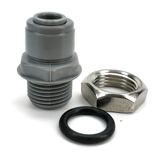 DUOTIGHT - 9.5MM (3/8) X 1/2 BSP MALE BULKHEAD (WITH SEATED O-RING) INCLUDES LOC