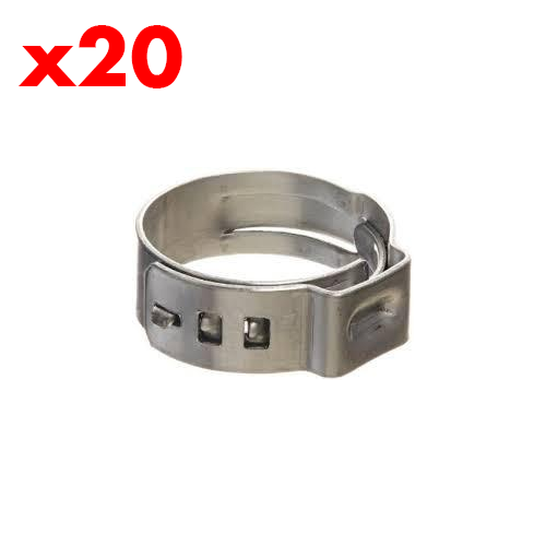 10.5mm (20 PACK) Stainless Stepless Clamp (suit 7-10mm OD)