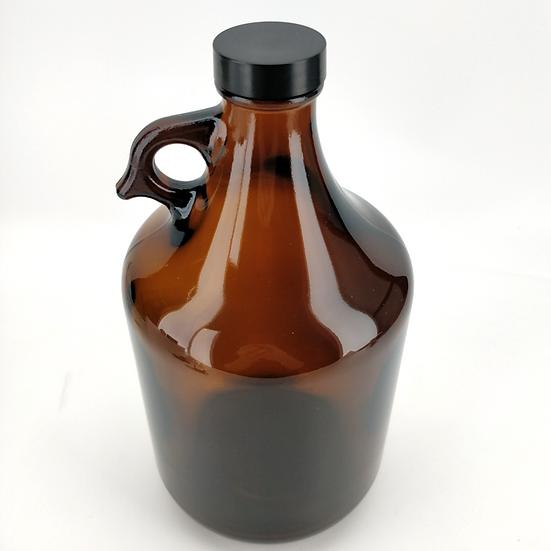 64Oz Glass Growler with Black Cap (about 1.9liters)