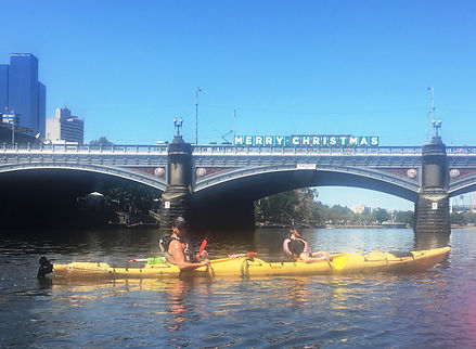 Fun times - Christmas party kayaking on the Yarra followed by drinks