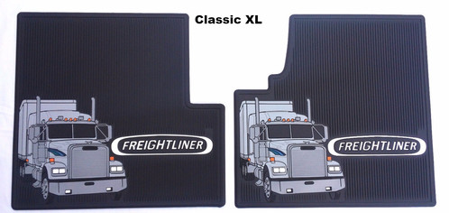 freightliner oem floor mats with logo - black rubber 2 pc cab