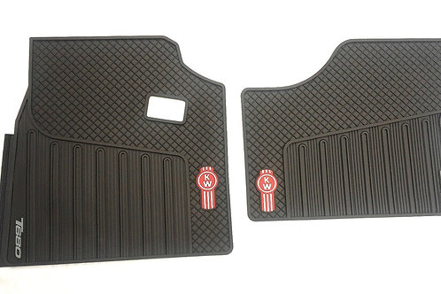 Kenworth T680 OEM Black Rubber Floor Mats W/Logo for 2014-2017 -2PC All-Weather