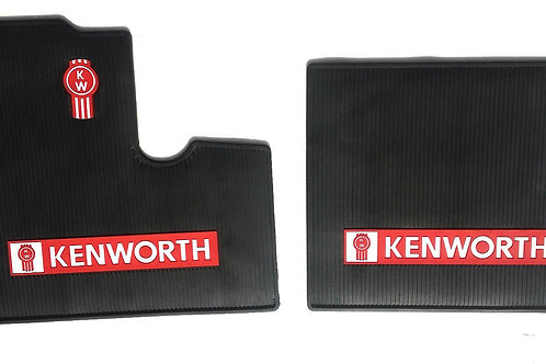 Kenworth OEM Black Rubber Floor Mats W/Logo for all T600 T800 W900 to year 2000
