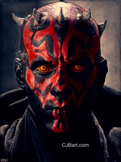 A5 Limited Edition Giclee print of Darth Maul in the positive