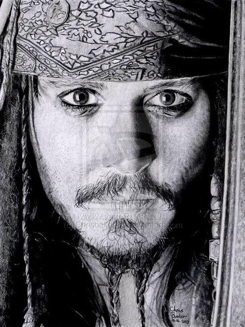 A4 Giclee print of Captain Jack Sparrow
