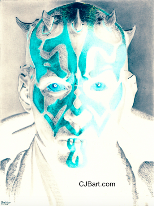 A5 Limited Edition Giclee print of Darth Maul in the negative