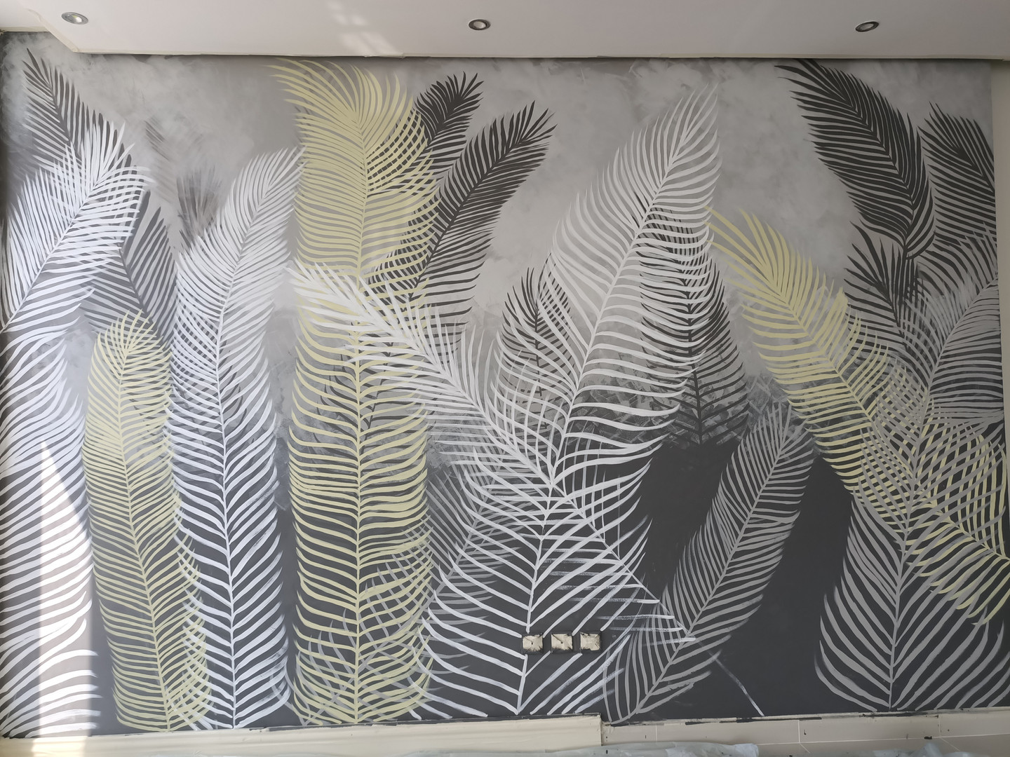 close up of mural