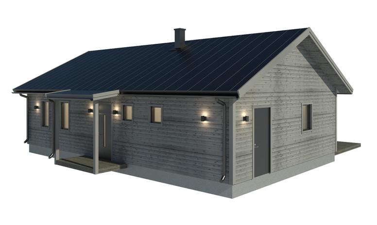 Fritidshus med utebelysning