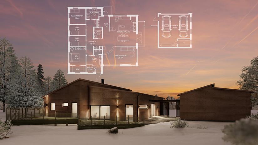 Enplansvilla med fristående garage