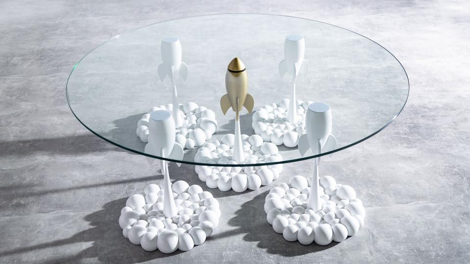 White Gold Rocket Table