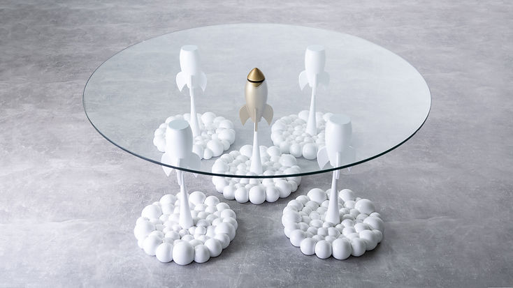 White Gold Rocket Table