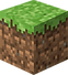 Der typische viereckige Grasblock, das Logo von Minecraft.