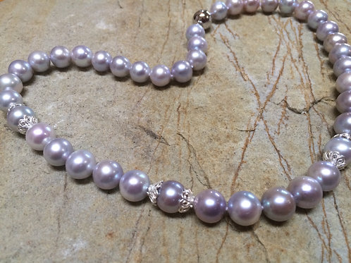 Lavender Pearls with Silver Sterling 925