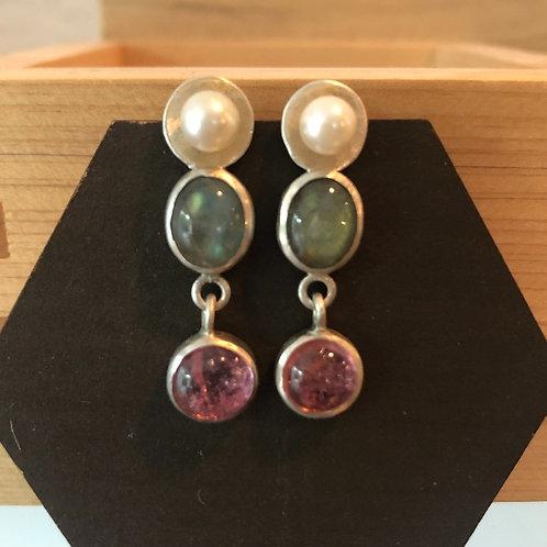 Silver & Akoya Pearl, Labradorite, Tourmaline