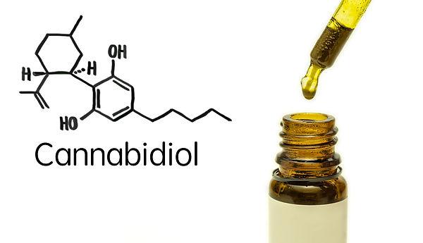 Cannabidiol CBD oil with molecule chain